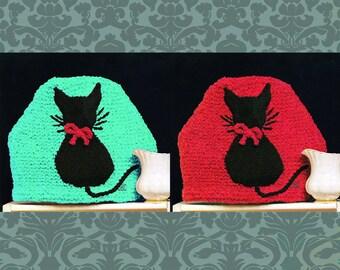 Cat Tea Cozy Knitting Pattern Kitty Motif Knitted Kitten cosy vintage teapot PDF T112