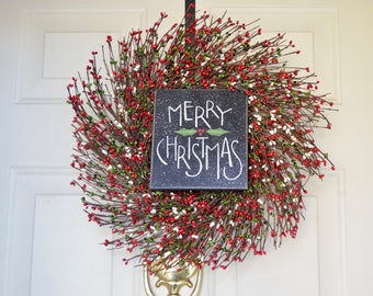 Merry Christmas wreath Primitive Berry Wreath  Red Green berries Front Door Decor Holiday wreath Hostess gift Housewarming gift