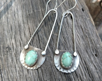 TURQUOISE EARRINGS • Sterling Silver • Earrings • southwest earrings • boho • green stone • silver earrings • 2B Free Jewelry