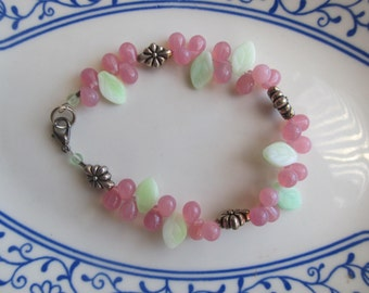 Ladies' or Girls' Bracelet, Pink and Lt Green with Silver