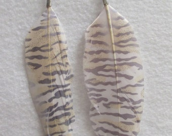 TIGER STRIPES DESIGN Printed Colorful Feather Earrings