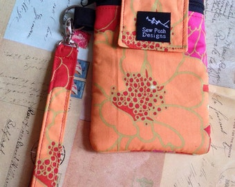 Pink Orange Flowers Fabric Iphone Galaxy Cell Smart Phone Camera Pouch Sleeve Zipper Front Pocket Padded  Wristlet Key Fob Case Washable