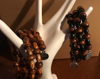 Black & Brown Bead Wrap Bracelets