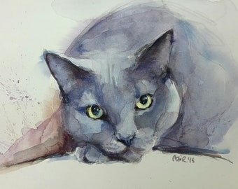 Russian Blue Cat. Watercolour painting. 7 x 9 in.