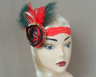 flapper hair accessory - red flower