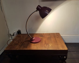 Mid-century metal desk lamp with original paint: rewired