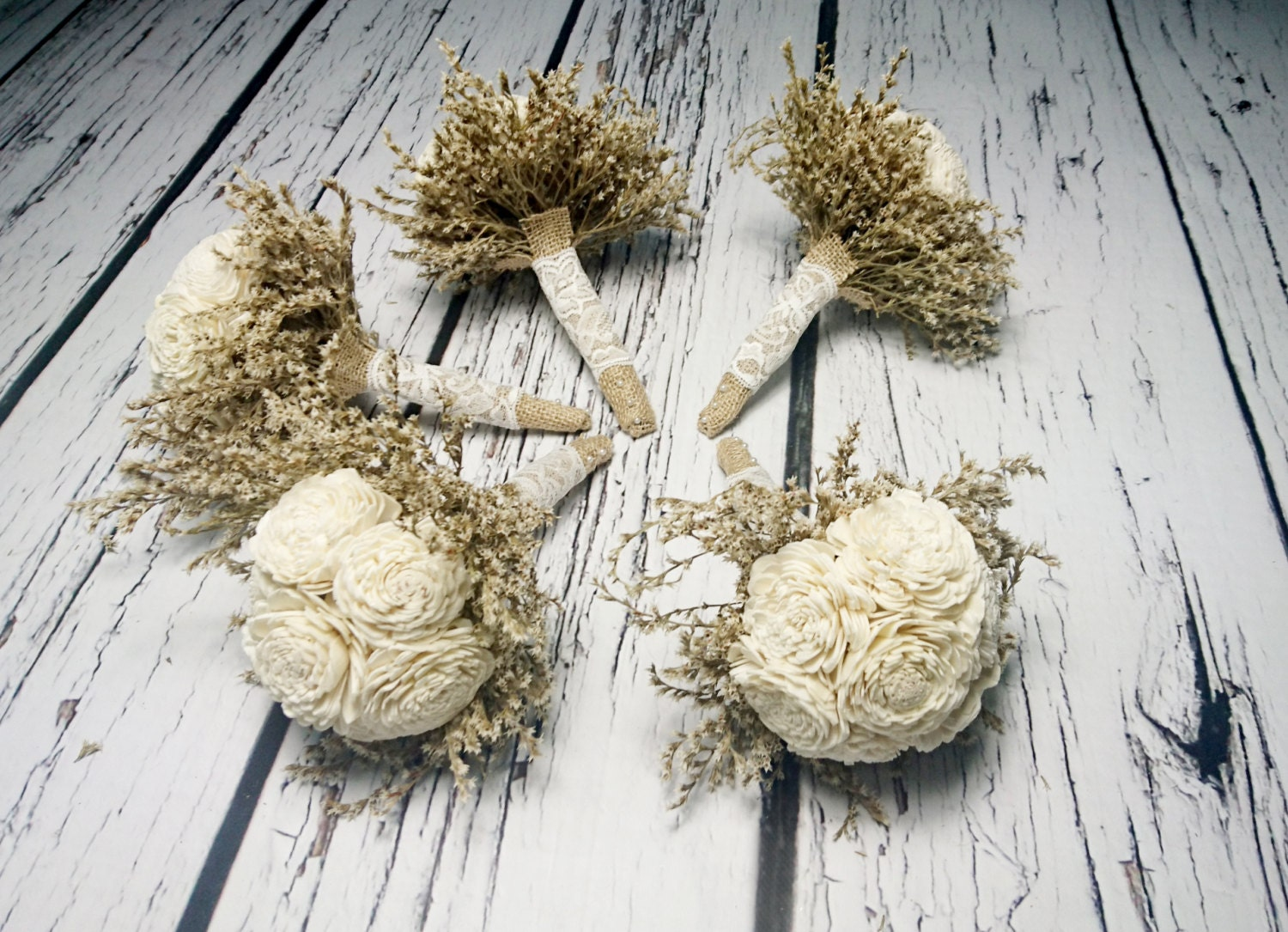 Small ivory rustic wedding set of 5 bouquets sola flowers zoom izmirmasajfo