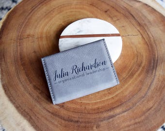 Custom Engraved Leather Business Card Holder, Personalized Card Case, Corporate Gifts, Boss Gift, Fathers Day Gift, Groomsmen Gifts, New Job