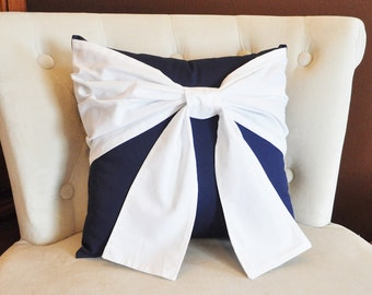 Throw Pillow White Bow on Navy Pillow 14x14 -Navy and White Pillow- Decorative Pillow-