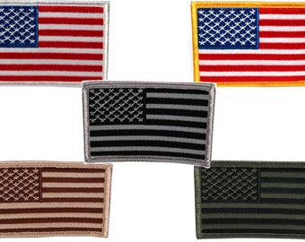 USA American Flag Embroidered Iron On Patch - 2 Piece Pack - FREE SHIP