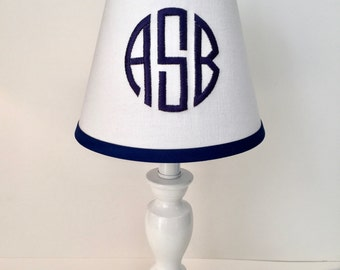 Circle Monogrammed Lamp Shade (white background, your choice of color for monogram/trim)