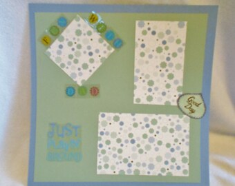 Dad 12 x 12 premade scrapbook page,  Family themed, blue and green color scheme, just for fun scrapbook layout, fun with dad, polka dotted