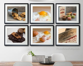 Rustic Kitchen wall decor/set of 6 prints/food Photography/kitchen art/food poster/gift for her/kitchen wall art/rustic wall art/dining room