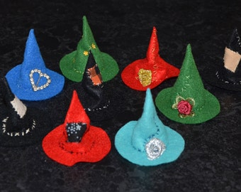 Build-your-own Wee Witch Hat, one inch scale dolls house miniature, you choose colour and embellishment