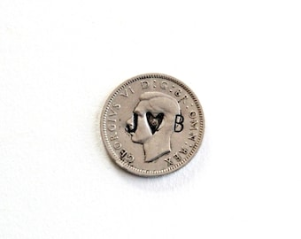 Wedding Coins - Sixpence . lucky coin . wedding charm . silver sixpence . personalized coin love token six pence love charm 6 pence