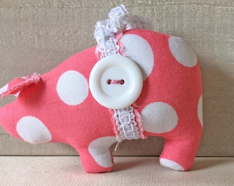 pink polka dot pig, homemade pig ornaments, shabby cottage decor, novelty ornaments, shabby chic decor, pink pigs