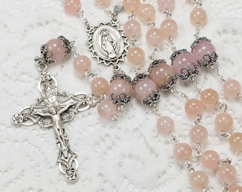 Pink Aquamarine Catholic Rosary, Handmade, Heirloom Gift, Women's Rosaries, Bali Sterling Silver, Ornate Miraculous Medal center & crucifix