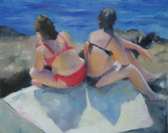 Small Oil Painting of sunbathers on the beach, beach art, oil painting