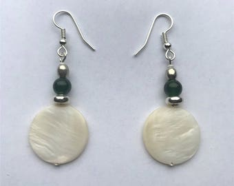 Round Mother-of-Pearl Earrings with Green Jade and Silver Beads.