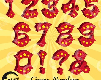 Circus Numbers Clipart, Circus numbers with stars, Circus fonts clipart, Carnival Numbers, commercial use, AMB-1035