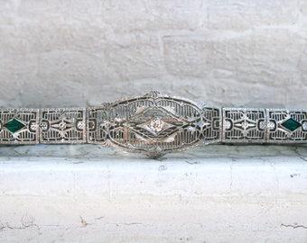 Vintage Art Deco Filigree 10K White Gold Diamond and Colored Glass Bracelet by Esemco.