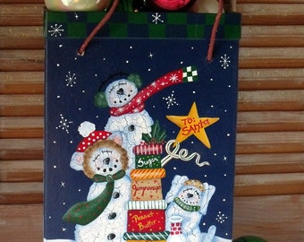 "Hand Painted ""SNOW BUDDIES"" Christmas Box Tote - Primitive - Whimsical - Folk Art - Gift Box - Gift Tote - Holiday Decoration - Snowmen"