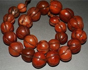 Etnhic OLD Antique Red Agate Carnelian Melon Nagaland Himalayas Prayer Mala Bead Necklace
