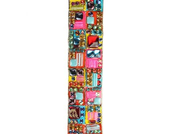 Colorful Rainbow Mezuzah Case by Michal Golan. Glass and Crystal Mezuzah case with scroll, a fun piece of Jewish home decor.