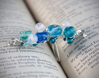 Blue glass wire wrapped statement ring