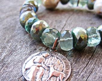 Saint Giles, Super Flashy Labradorite, Baroque Pearls and Fluorite Stretch Bracelet, Antique Catholic Medal, Pave Diamonds, Patron Saint