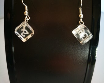 Clear Gem D6 Dice Earrings, Mini Dice, D&D Dice, Gift for Her, Geeky Gift, Sterling Silver