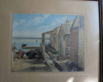 Reserved for E** Dory Mates Nantucket H Marshall Gardiner Hand Signed and Colored Antique Photograph Framed