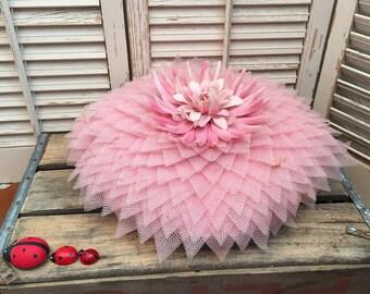 Rare Vintage Pink Flower Pillow~ Plastic Flower Pillow, Vintage Decor, BoHo Decor, Retro Decor, Movie Prop