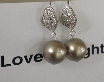 Sand color Swarovski 12 mm Pearl Dangle Earrings, Sparkly earrings, Christmas gift, gifts guide, Black friday sale