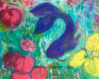 Indigo Koi- Original mixed media/ encaustic painting by Maria Pace-Wynters