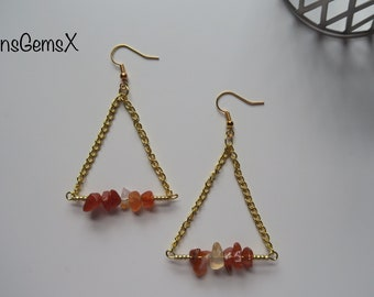 Handmade Red Carnelian Gemstone & Chain Triangle Earrings