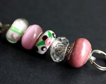 Rosebud Lanyard. Pink Lanyard. Beaded Lanyard. Badge Holder. Badge Lanyard. Nurse Lanyard. Badge Necklace. Lampwork Glass Lanyard.