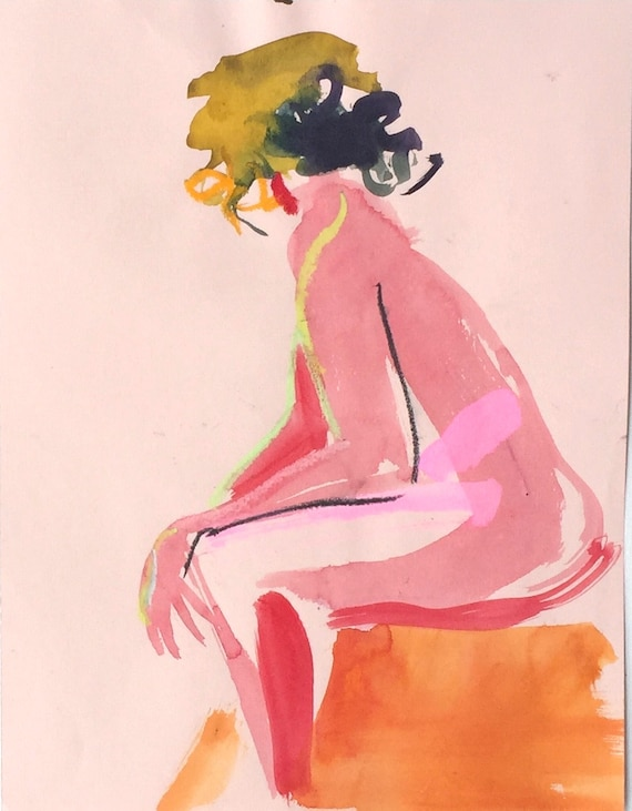 Nude painting- Original watercolor painting of Nude #1326 by KellyGretchen
