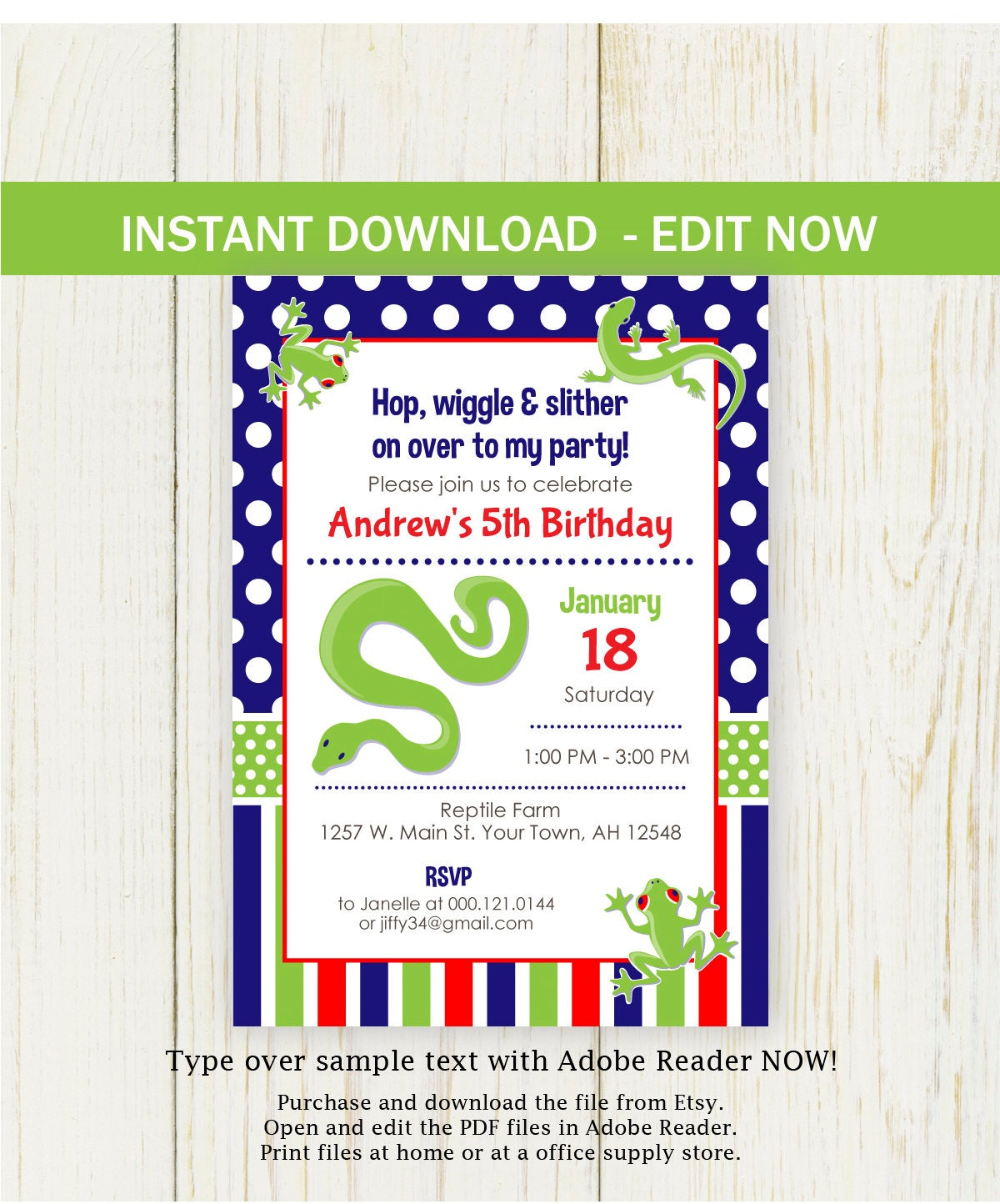 Reptile Birthday Invitation digital instant download EDIT