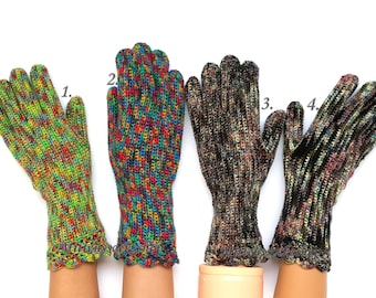 Gloves with Fingers Rainbow Women's Gloves with Fingers Girl's Finger Gloves Knit Rainbow Gloves Crocheted Gloves with Fingers Arm Warmers