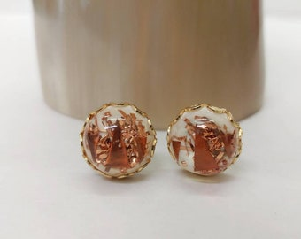 Cute Vintage Mid Century Copper Confetti Lucite Clip On Earrings- Retro Atomic Small Elegant Classic Pinup Gold Tone