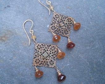 Vintage brass, garnet earrings, hessonite garnet, garnet and gold, chandelier earrings, shaded garnet, January birthstone, SweetTaBou