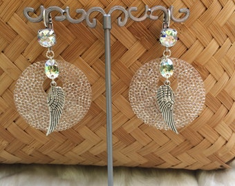 "Romantic Bohemian hoops, white and silver, brass and swarovski crystal ""Angel"""