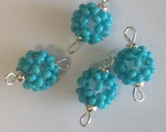 4 beads seed connectors (2.5 mm) turquoise