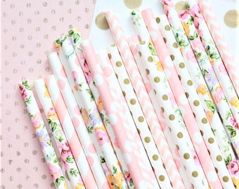 Pink floral paper straws-set of 25- garden party straws, tea party straws, flower straws, floral straws, vintage floral straws, pink floral
