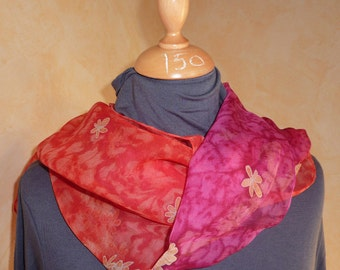 """scarf scarf 100% silk, painted and hemmed by hand-drawing original of """"watercolor"""" effect hand-drawn flowers"""