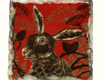 Quirky Hare  coaster, natural slate, rock, woodland, tableware, table, drinks mat, salsa red