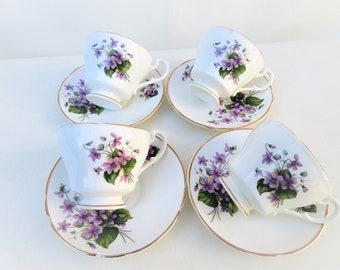 Vintage Teacups | Crownford Bone China | Demitasse Cups and Saucers Set | Violets Tea Cups | Crownford China Espresso Sets | Set of 4