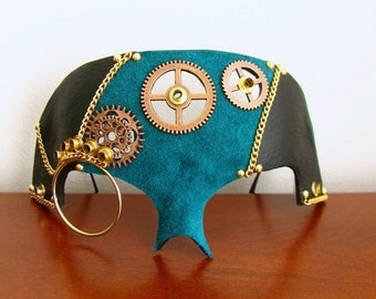 Leather Steampunk Mask, bue Suede with Gears and Monocle - The Caustic Chemist