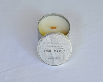 Driftwood Scented 6.5 oz. Wood Wick Soy Candle Tin